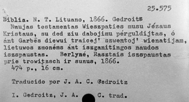 Grafo Giedraičio lietuviškai išversto ir Berlyne 1816 m. išleisto Šv. Rašto kortelė Venesuelos nacionalinėje bibliotekoje