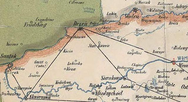 Vielkių Vielkės žemėlapio iškarpa su Notecės Santaka į Vartią